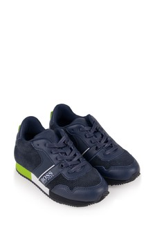 Boys Navy Lace-Up Trainers