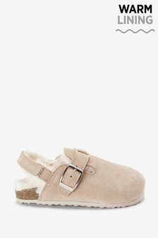 Sand Leather Warm Lined Clogs