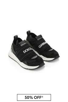 Dolce & Gabbana Kids Dolce & Gabbana Baby Boys Black Leather Trainers