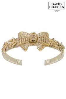David Charles Gold Embellished Bow Hairband