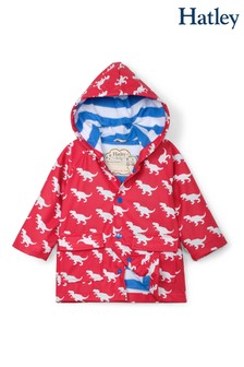 Hatley Red T-Rex Silhouettes Colour Changing Baby Raincoat
