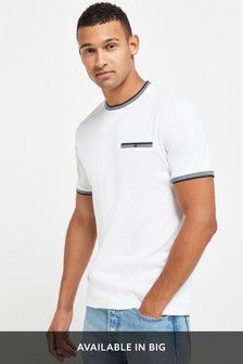White Tipped Neck T-Shirt