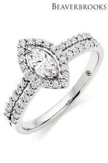 Beaverbrooks 18ct White Gold Diamond Cluster Ring