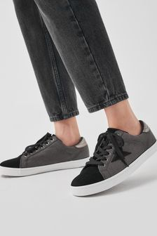 Black Extra Wide Fit Forever Comfort® Star Lace-Up Trainers