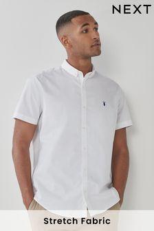 White Regular Fit Short Sleeve Stretch Oxford Shirt
