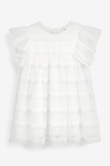 Ecru Frill Sleeve Mesh Dress (3mths-7yrs)