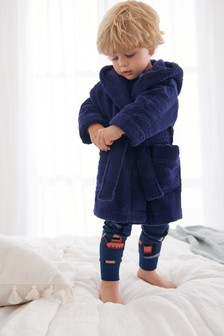 Navy Cotton Terry Towelling Bath Robe (9mths-12yrs)