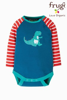 Frugi GOTS Organic Long Sleeve Bodysuit With Dinosaur Print