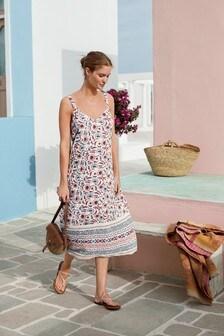 Ecru Border Print Midi Slip Dress
