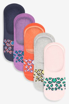 Bright Animal Print Invisible Trainer Socks Five Pack