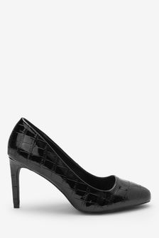 Black Extra Wide Fit Almond Toe Court Shoes