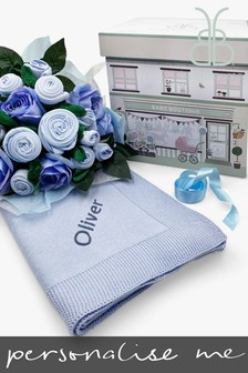 Babyblooms Luxury Blue Baby Clothes Bouquet and Personalised Baby Blanket Gift