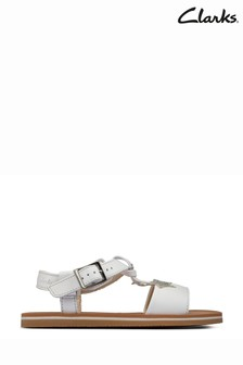 Clarks White Leather Finch Summer Y Sandals