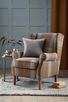 Tweedy Check Murray Ochre Sherlock II Petite Armchair With Light Legs