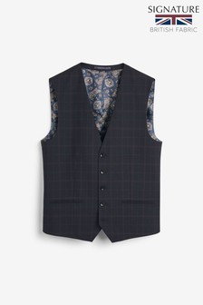 Navy Empire Mills Signature Check Suit: Waistcoat