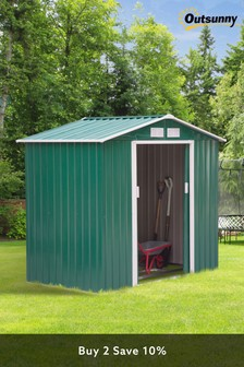 Green Lockable Medium Garden Shed by Outsunny