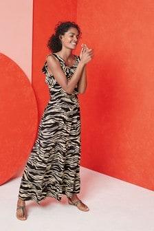Zebra Ruffle Maxi Dress
