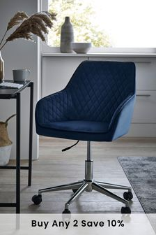 Opulent Velvet Dark Navy Hamilton Arm Office Chair With Chrome Base