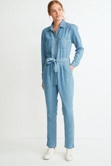 Bleach Tencel Zip Through Jumpsuit