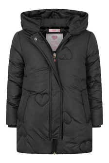 Girls Dark Grey Long Padded Jacket