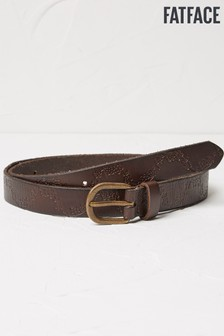 FatFace Brown Floral Emboss Leather Belt