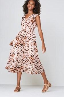 Tie Dye V-Neck Midi Dress