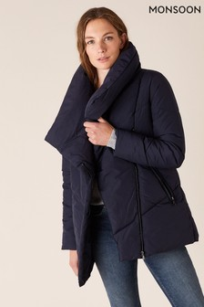 Monsoon Blue Dhalia Sustainable Short Padded Coat