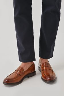 Tan Leather Trident Loafers