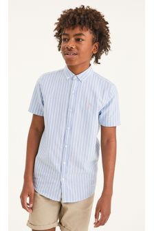 Blue Short Sleeve Stripe Oxford Shirt (3-16yrs)
