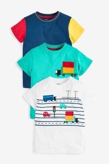 Multi 3 Pack Transport T-Shirts (3mths-7yrs)