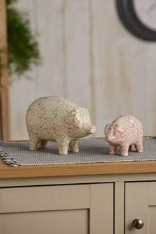 Set of 2 Pretty Ceramic Pig Ornaments
