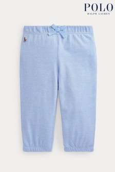 Ralph Lauren Blue Logo Cotton Trousers