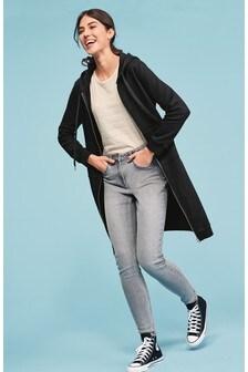 Black Longline Zip Through Hooded Jacket