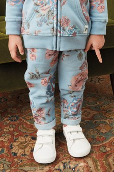 Blue Vintage Floral Joggers Soft Touch Jersey (3mths-7yrs)