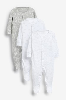 Grey 3 Pack Supima Cotton Sleepsuits (0mths-2yrs)