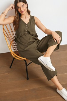 Khaki Maternity/Nursing Button Front Ruffle Jumpsuit