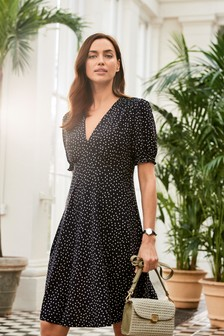 Black Spot Short Sleeve Smock Dress