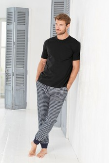 Black/Grey Check Cosy Cuffed Pyjama Set