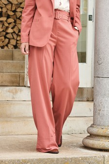 Pink Emma Willis Belted Wide Leg Trousers