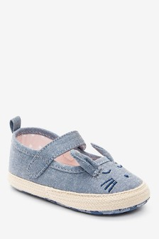 Denim Bunny Mary Jane Pram Shoes (0-18mths)