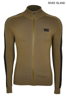 River Island Khaki Knitted Zip Funnel Top