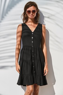 Black Viscose/Linen Mixed Tiered Mini Dress