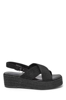 Black Crossover Chevron Flatform Sandals