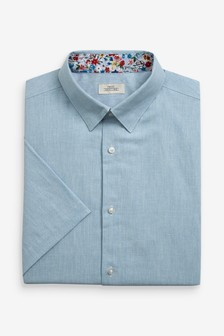 Light Blue Regular Fit Short Sleeve Cotton Linen Floral Trim Shirt