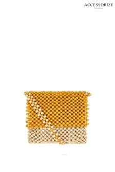 Accessorize Yellow Beaded Cross Body Bag