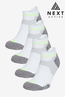 White Next Active Cushioned Trainer Socks 4 Pack