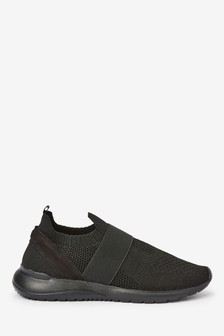 Black Fly Knit Elastic Trainers