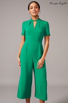 Phase Eight Green Constance Cropped Jumpsuit