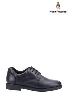 Hush Puppies Black Tim Junior School Shoes