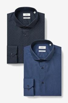 Navy/ Navy Polka Dot Slim Fit Single Cuff Shirts Two Pack